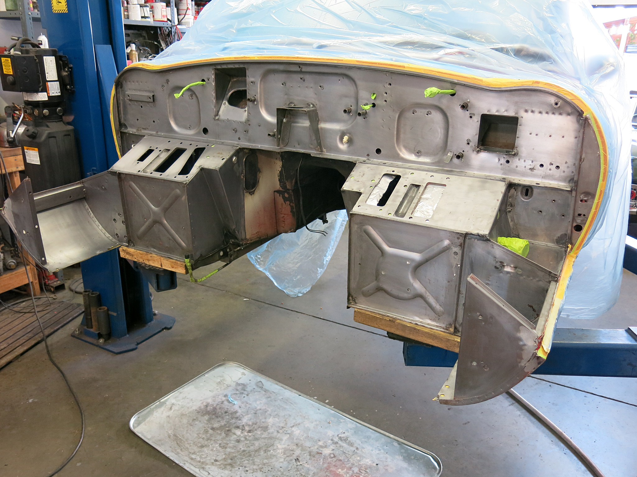 We stripped the entire firewall and manually eitched it prior to the Epoxy primer.