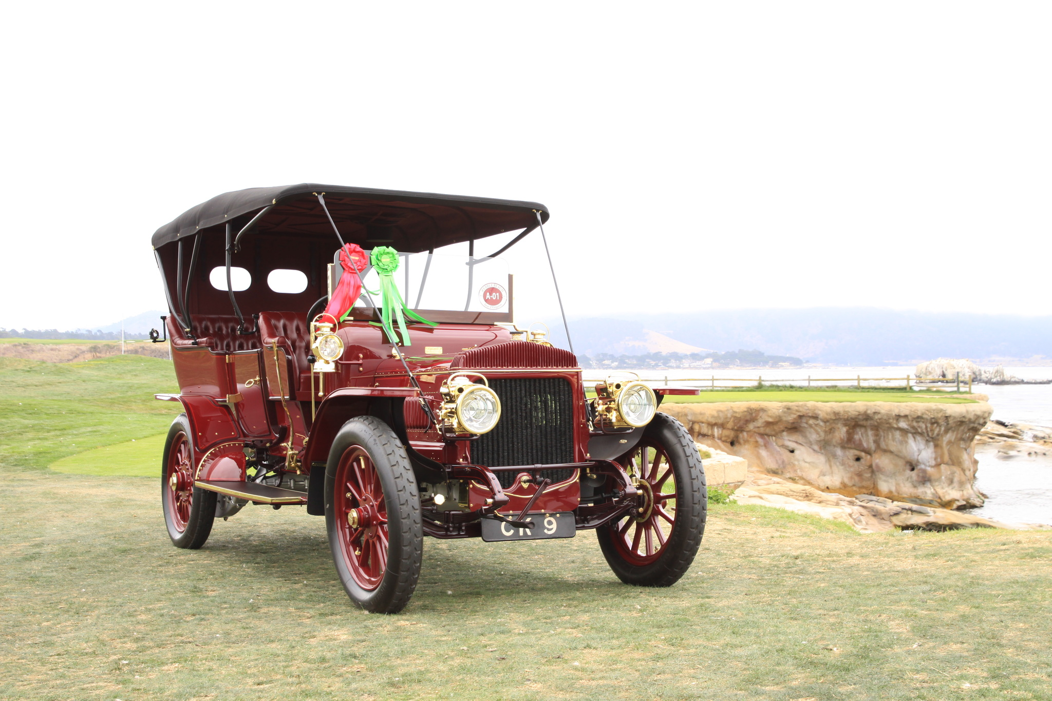 """1908 Daimler TC48 Roi des Belges.  This rare 48-hp Daimler has Roi des Belges or tulip phaeton coachwork, a style first seen in 1901 when King Leopold II of Belgium decided to buy a new car. The king visited Paris to discuss his idea with Ferdinand Charles of Rothschild et Fils, a coachbuilding firm belonging to the famous banking dynasty. To improve passenger comfort they decided on richly upholstered tub-chairs then in fashion. With these handbeaten, tulip-shaped seats and a graceful, pinched-in waist, the """"Roi des Belges"""" body style caused a sensation when it was unveiled in 1902, and remained in fashion for several years."""