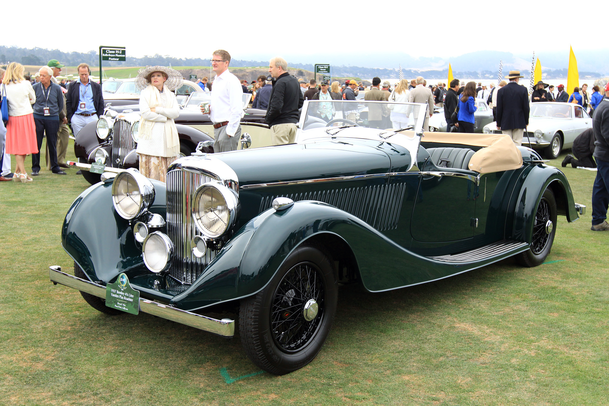 1937 Bentley 4¼ Litre Vanden Plas Roadster B-42-KT. This two seat 4¼ Derby Bentley was sold through the London Bentley dealership of Jack Barclay, and delivered in July 1937 to its first owner, S. B. White. It was ordered with sporty yet graceful coachwork from Vanden Plas that is similar to two other very famous Derby Bentleys owned by Sir Malcolm Campbell and the Countess of Warwick. Its current owner purchased the car in 1972 and has enjoyed it ever since.
