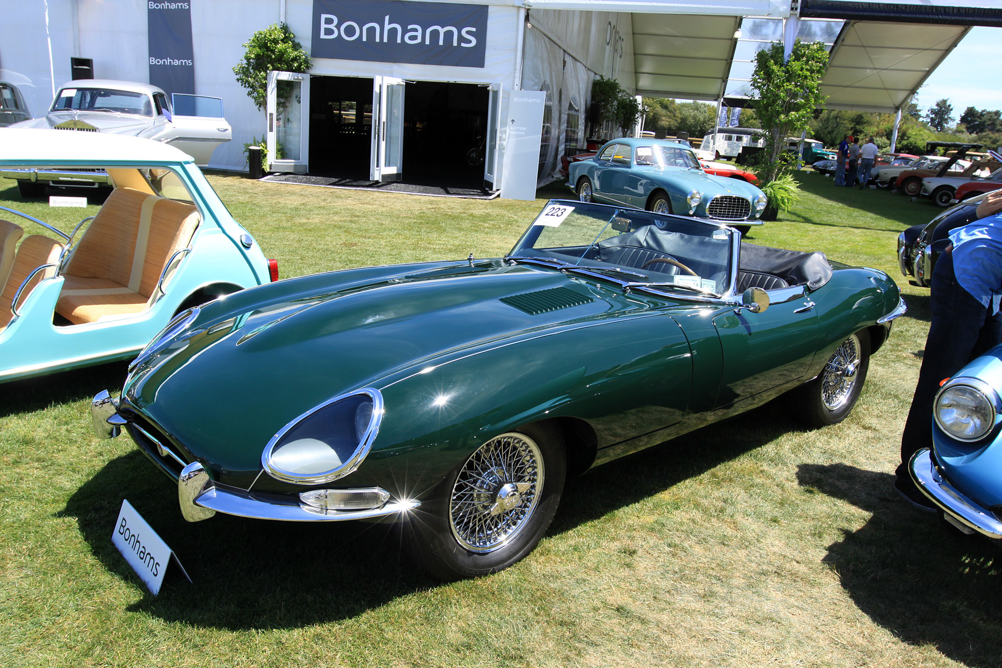 1967 Jaguar E-Type 4.2 Roadster 1E14542 - sold for $167,200 at Bonhams. Matching numbers example. Beautifully restored. Complete with books and tools. Over $26,000 in recent receipts. Offered with history file and Heritage Trust Certificate.