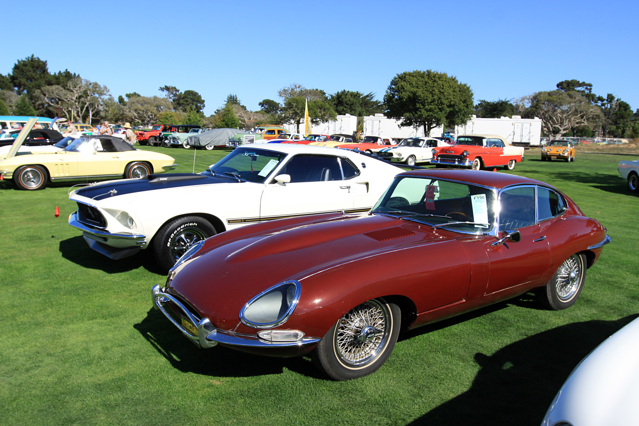 1967 Jaguar Series 1 E-Type Fixed Head Coupe 1E33454 - sold for $60,000 at Mecum. Series 1 XKE Fixed Head Coupe. Original 4.2L inline six cylinder. Engine No. 7E10182-9. Triple carburetors. 4-speed transmission. Opalescent Maroon paint with great patina. Black interior. 160 MPH speedometer. Jaguar wire wheels. Smiths gauges. Believed to be 12,563 original miles. Unique Series 1 Jag with covered headlamps, front and rear marker lights above the bumpers and center exiting exhaust.
