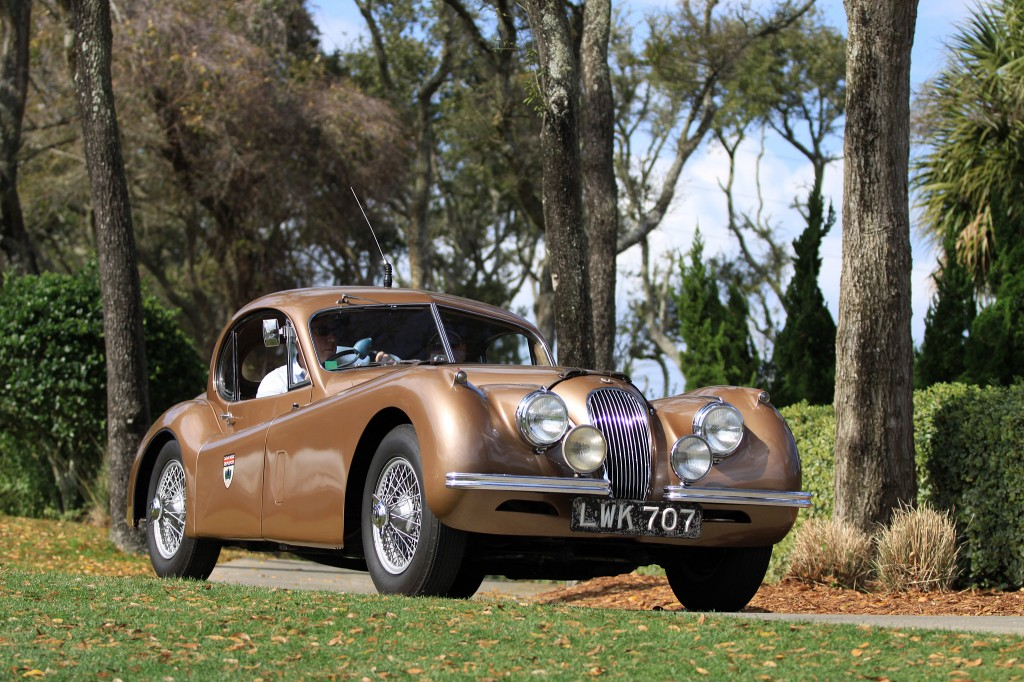 In August of 1952 this specially-prepared Jaguar XK120 FHC was taken to Montlhéry near Paris and driven for seven days and nights at an average speed of 100.32 miles per hour. There were four drivers: Stirling Moss, Jack Fairman, Bert Hadley and Leslie Johnson.