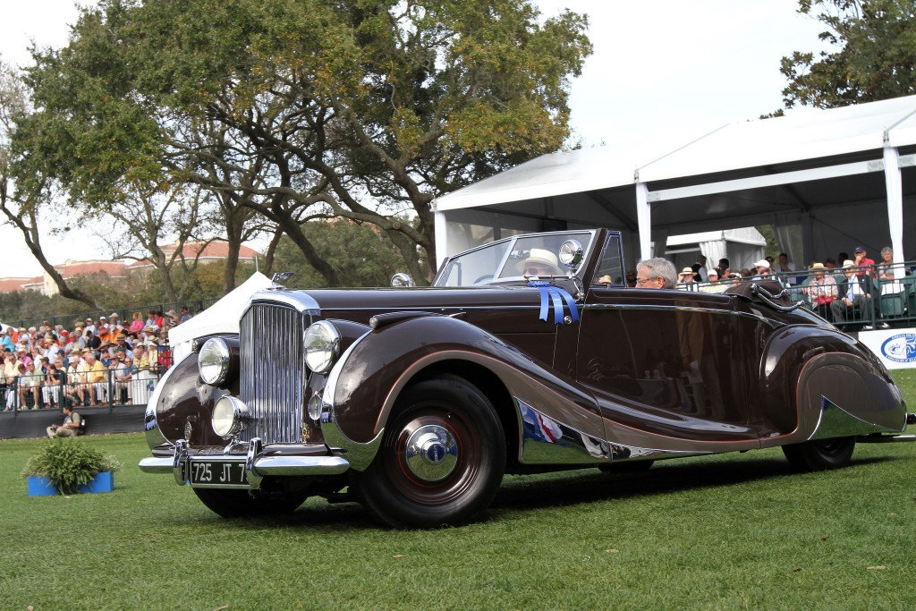 The second of two rakish dropheads built on the Bentley Mark VI chassis, each unique in appearance, built by the highest quality French coachbuilder Franay Freres. It is on one of the finest chassis of the time, the Mark VI Bentley, and this example was constructed in 1947 to the order of A. J. Liechti of Switzerland. It was part of a significant Rolls-Royce and Bentley collection for many years before being acquired by the gentleman who commissioned the striking restoration presented here today.