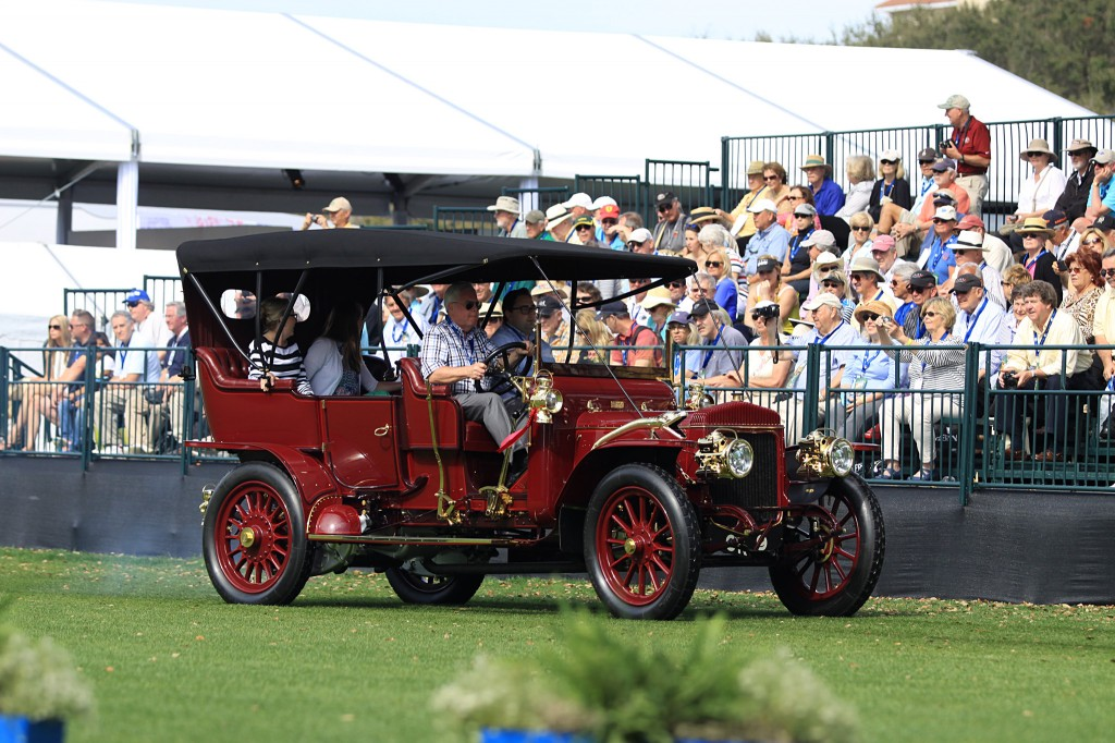 "This 1908 Daimler is one of the rarest models produced by the Coventry works as the 48 hp four-cylinder sleeve valve engine was only produced for the last few months of 1908. Only a few of the large four-cylinder cars were made with this car being one of the earliest models produced and is thought to be the experimental car as the engine is denoted with ""X"" in several places. This being the only remaining 48 hp Daimler is due to the careful preservation efforts of the Bradshaw Family, of England, from 1937 to 1979 and David Ryder Richardson, of England, from 1979 to 1997. Due to their efforts it remained active in VSCC events from the first hill climb in 1937 to countless events and films through 1997."