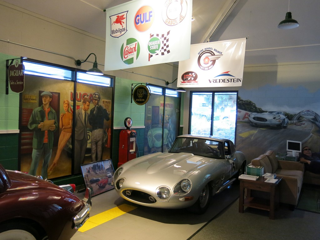 Jason Len's E-Type racecar in the showroom.