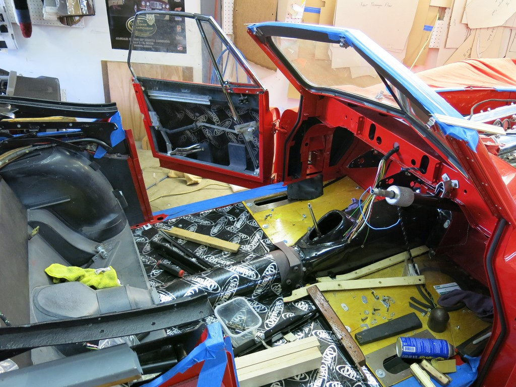 XK140 being prepped for interior.