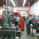 Vertical boring machine and assembly area
